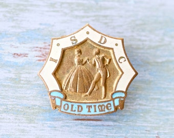 Let's Dance Pin - Vintage ISDC Old Time Sequence Dancing - Enamels Button Hole Badge