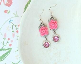 Hot Pink Rose Filigree Earrings, Gift for Her, Silver FIligree