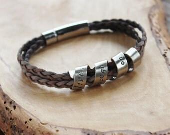Men's Bracelet, Personalized Message Bracelet, Boyfriend Gift, Leather & Silver, Men's Hand Stamped Bracelet, Personalized Men's Bracelet,