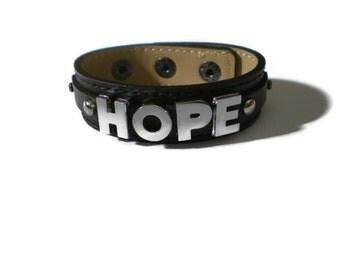 HOPE Bracelet - 18mm Black Strap Wristband Bracelet - Leather Bracelet Cuff - Leather HOPE Wristband