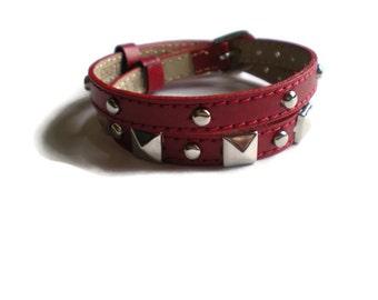 Double Wrap Bracelet  - Studded Leather Wristbands - Studded Red Buckle Bracelets - Silver Studded Leather Wrap Bracelet - 2 Bracelets In 1