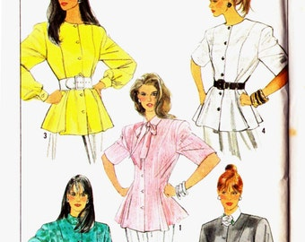 Simplicity 8740 Princess seamed blouse tunic neck collar variations flared peplum style Size 10-12-14-16 Vintage uncut sewing pattern
