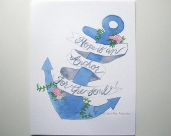 CLEARANCE Hope is an anchor art print nautical watercolor
