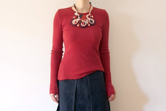 Knitted statement bib necklace with bamboo and textile beads, red blue white, OOAK