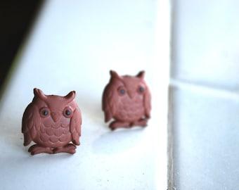 Brown Owl Earrings -- brown owls, silver, studs