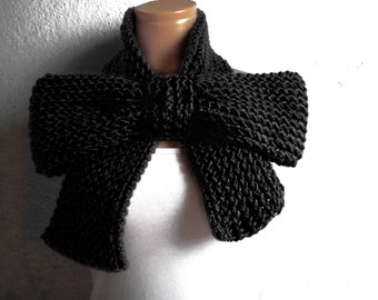 Knitted Bow Scarf Chunky Knitted Bow Ascot Neck Warmer Women's Scarf Fashion Accessories Black, SCARVES, Winter Knit Accessories, oversized