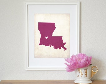 Louisiana Rustic State Map. Personalized Louisiana Map. Louisiana Wedding Map. Wedding Gift. Honeymoon Gift. Travel Map. Art Print 8x10.