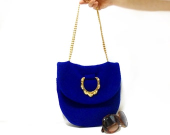 Tote bag, Felt Purse, Golden handle, Cotton felt handbag, Blue, Invitation bag, Electric Blue, Handmade shoulder bag, parliament blue, Pouch