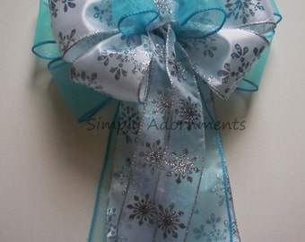 White Blue Snowflakes Wedding Bow Blue White Snowflakes Decorations Frozen Disney Party Frozen Birthday Decor Snowflakes Birthday Gifts Bow