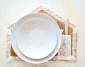 House shaped burlap placemat, reversible, fall winter home decor, made to order
