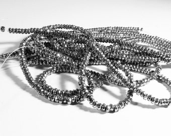 Hematite Sterling Silver Plated Faceted Rondelle Beads Strand 5mm