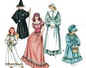 Costume Pattern-Angel, Pilgrim, Frontier, Old West, Witch, Conical Hat, 2 Bonnets/Mob Cap, Simplicity 5741 Girl 2-4,10-12 /Miss All Sz Uncut