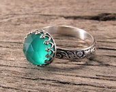 Green Onyx ring on a patterned sterling silver band - made to order in your size