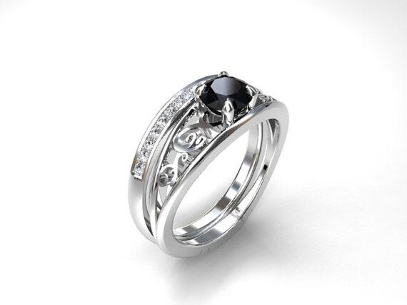 Engagement ring set black diamond ring diamond wedding