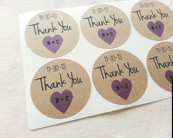60 Custom Heart Initials Wedding Mason Jar Favor Labels. Thank You Wedding Seals. Personalized Wedding Date Stickers. Purple Violet