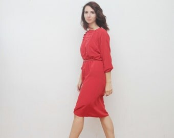 Vintage red midi dress with side buttons from 80s
