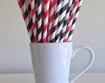Red and Black Paper Straws Black and Red Striped Party Supplies Pirate Party Decor Ladybug Theme Bar Cart Cake Pop Sticks Graduation