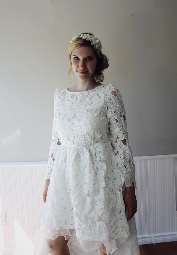 Mid Length White Lace Dress