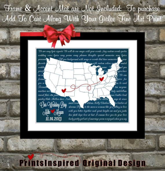 Unique Wedding Gift Personalized First Dance Wedding Song Lyrics Art Print Any Song Gift Wall