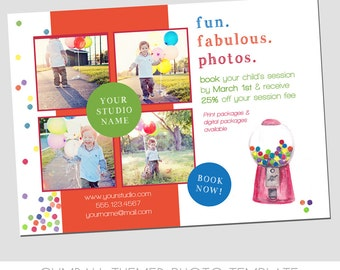 INSTANT DOWNLOAD - Children Portrait Marketing Ad - Modern Design - Fun Gumball design - watercolor - Mini Sessions - Colorful