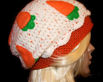Carrot Cake Cupcake Slouchy Beret / Ready to Ship