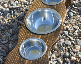Xtra SMALL Three Bowl Raised Cat Feeder, Elevated Dog Bowls, U Pick Height, Many Tint Choices, Cat Buffets, Solid Pine,Quality,MADE 2 ORDER