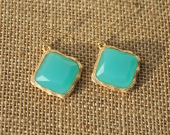 Statement aqua blue earrings, aqua blue glass beads drops framed in gold, dangles, seafoam, handmade gift idea.