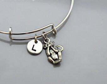 Speak no evil monkey, Three Monkeys bracelet, three wise monkeys, 3 monkeys, Expandable bangle, Personalized, Monogram, Initial bracelet