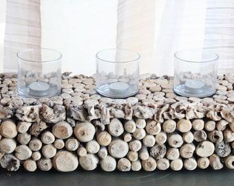 Wood candelabra (3 candles)