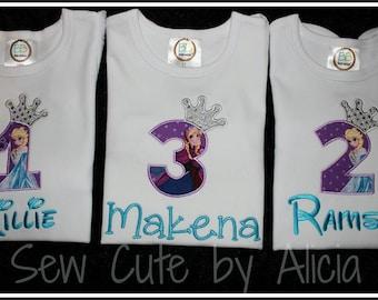 Frozen Birthday Shirt- Princess Crown..White Ruffle Shirt!