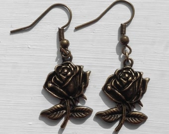 Antique bronze rose earrings
