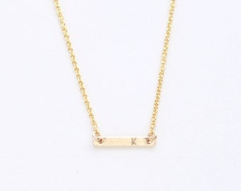 Tiny Initial gold bar necklace - personalized bar necklace - delicate gold filled necklace - minimalist jewelry- Initial Dash necklace