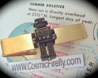 Steampunk Robot Tie Clip Brass Robot Men's Tie Clip Gold Tie Clip Steampunk Tie Bar Men's Gifts Geekery Gifts