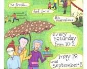 Farmer's Market 2012 Original Art Poster, Lopez Island, WA