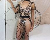 Black color criss cross crinoline elastic Belt with plastic pistils style for fantasy party unique woman size