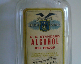Vintage US Standard 188 Proof Alcohol Bottle Terminal Wine Company Boston Mass Pull Pint Label High Grade Bottle Collections Cork Stopper