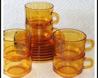 Glass Demitasse Cups & Saucers REDUCED IN PRICE Vintage Vereco Brand Amber Color Glass.  Set of 6.  Made in France