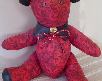 Teddy Bear - Pointsettia Fabric - Leather Collar Decoration - Modern Christmas Teddy Bear - Collectible Bear - Artist Bear.