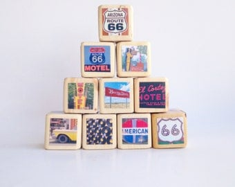 ROUTE 66. children's toy. room decor. travel. highway. adventure. Baby Blocks. Wood blocks. Unique Baby gift. nursery decor.