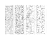 Zentangle Inspired Bookmarks, Printable Coloring, Digital Download, Sheet 11