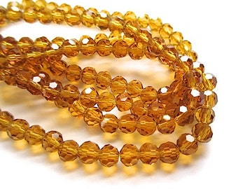 Topaz Amber Beads. 6mm Beads. Honey Gold Glass Crystals. 6 mm Faceted Round Beads. Sparkling Glass Beads. Beaded Half Strand. 35 Pieces