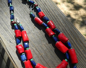 Summer jewelry, Coral and Lapis Necklace, Lapis and Coral Necklace, Bamboo Coral Necklace, Chunky Coral Necklace, 4th of July necklace