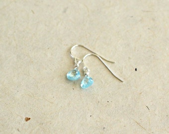 Small Aquamarine Teardrop Earrings-March Birthstone Earrings-Blue Drop Earrings-Something Blue-Gifts for Kids-Gifts for Girls-Gifts Under 30
