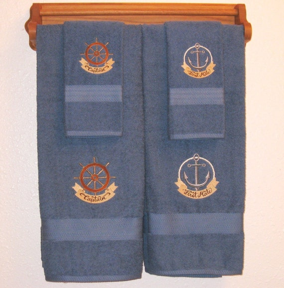 Nautical Flags Bath Towels: HIS And HERS 4 Piece Nautical Towel Set By SayItInStitches777