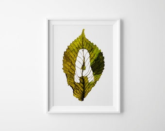 Monogram Letter A – Fall Leaf – Initial Art – Birthday Gift – Letter Decor A – Nature Wall Art – Initial Print – 21 x 30 cm or 30 x 40 cm