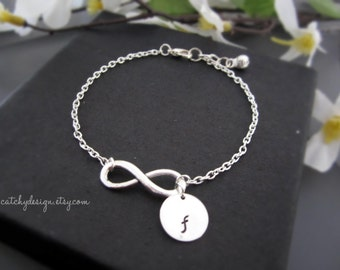 Initial charm infinity bracelet,Personalized infinity,best friend gift,Christmas gift ideas-for mom-for sister