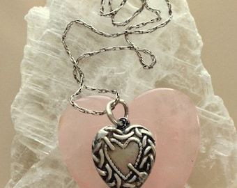 Vintage Sterling Silver Repousse Heart Pendant Necklace - Baroque Style Heart Pendant And Vintage Chain