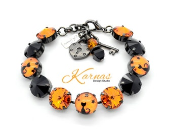 HALLOWEEN BLACK CAT 12mm Crystal Rivoli Bracelet Made With Swarovski Elements *Pick Your Metal *Karnas Design Studio *Free Shipping*