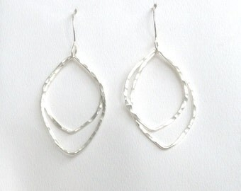 Open Leaves Earrings, Forged Fine Silver, Hammered Texture, Pure Silver, Handmade by LisaJStudioJeweler.