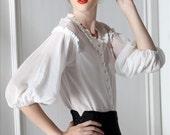 Silk Cotton Blouse White Black Two Piece Set Half Puffy Princess Sleeve Ruffle Neck White Shirt Empire Black Linen Sheath Skirt Formal Suit